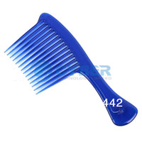 Wholesale Cheap Blue Comb Jumbo Wide Tooth Detangler Rake Handle Hairdressing Comb