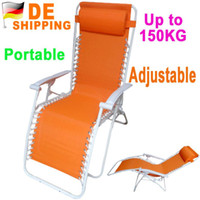 Cheap DE Stock To DE Folding Adjustable Recliner Chaise Lounge Lunch Nap Chair Beach Bed for Outdoor Camping DHL Free Ship