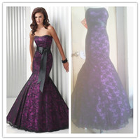 Wholesale 2013 vintage Elegant Purple Lace Mermaid Lace up floor Length Wedding Dress Bridal Dress