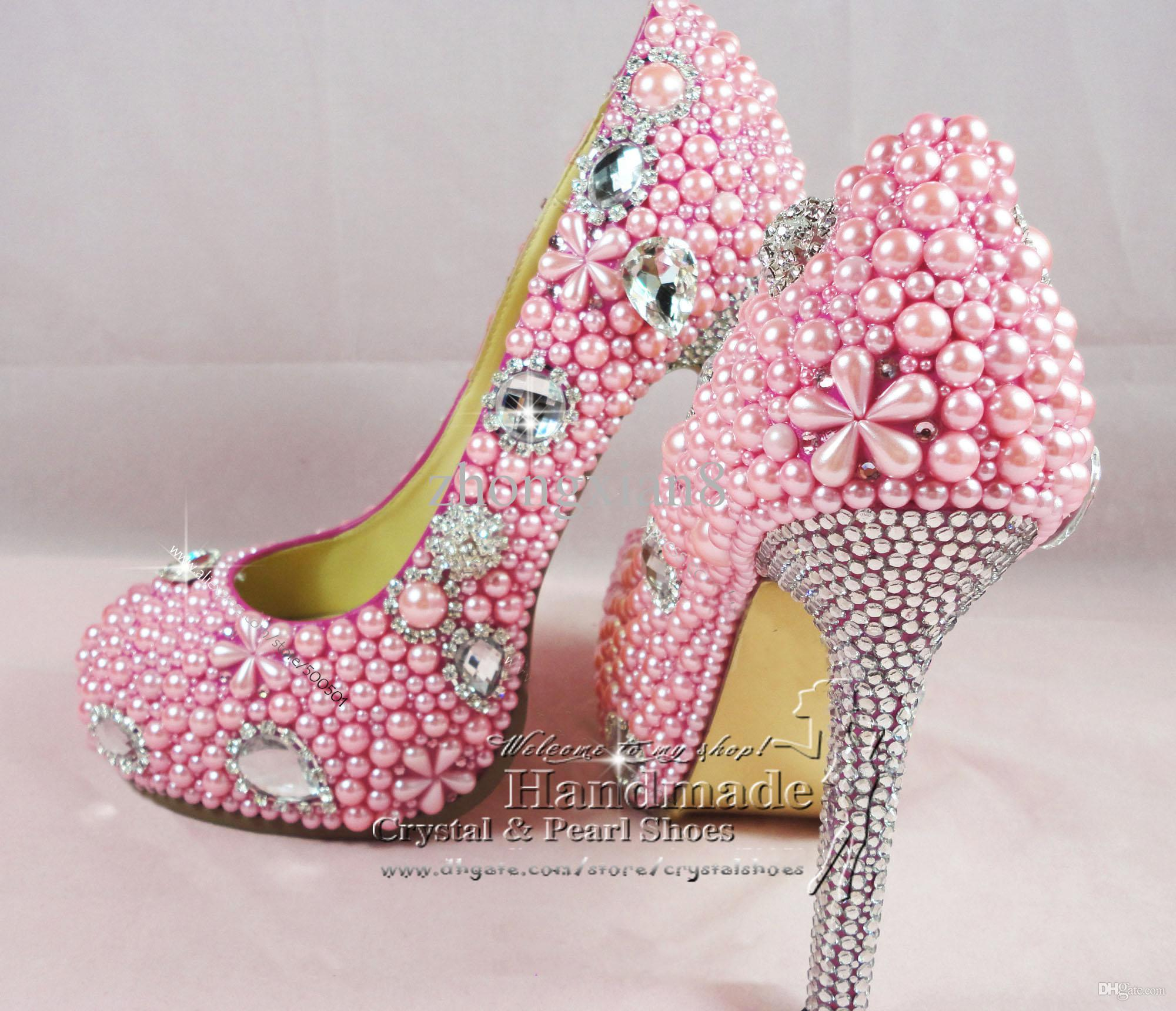 Pink Wedding Shoes Sexy Ladies Bridal High Heel Pink Shoes for Wedding Party Evening Show ...