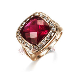 Yoursfs Romantic Promise Ring Red Ruby Austrian Crystal Jewelry 18 K Rose Gold Plated Wedding Rings for Women Vintage Statement Rings