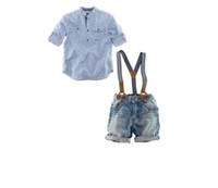 Wholesale New Arrival Boys Set Cotton Long Sleeve Striped Shirt And Jeans Piece Set Kids Handsome Suspender Denim Set
