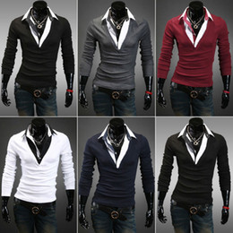 Wholesale Mens Luxury Casual Stylish Slim Fit Shirts V Neck with Collar Size Color New