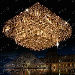 nimi144 L60 70 80cm Modern Crystal Square Ceiling Chandelier Lamp Light Lighting Transparent Water Droplets For Living Room Bedroom