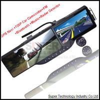 "1 channel 1.5 1280x720 car dvr Free map HD720P 5"" Bluetooth headset Rearview Mirror GPS Navigator car black box camcorder DVR car drive record rear view camera"