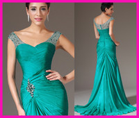 Wholesale Green Pleated Chiffon Cap Sleeves Mermaid Wedding Long Party Mother Evening Dresses E4960