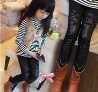 Leggings & Tights Girl Spring / Autumn girls leather boots pants leggings kids thicken fleece tight pants children trousers pants winter clothing dkagmy