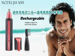Wholesale 2 in1 Waterproof Deluxe Red Facial Hair Beard Nose and Ear Trimmer Shaver Groomer Clipper Cleaner