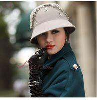 Stingy Brim Hat felt top hat - Women Hats Women Wool Felt Hats Top Hat Winter Hat Black Woolen Hat Wool Two Colors Available Felt Flower Church Hat
