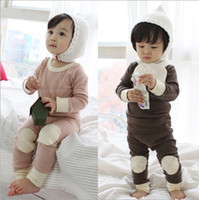 Wholesale Winter Baby Pajamas Set Pure Cotton Thicken Leyo Warm Children Homewear Suit Kids Pajamas Pink And Brown QZ166