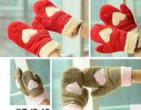 Wholesale Lovely lady winter pure manual weaving upset warm feather fashion Cartoon Love gloves More winter warm gloves Hight quality