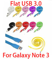 for Galaxy Note 3 N9000 For Samsung  Colorful Noodle Flat Micro USB 3.0 Data Sync Cable Charger Line Adapter for Samsung Galaxy Note 3 III N9000 N9006 N9008 Mix Colors