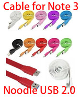 for Galaxy Note 3 N9000 For Samsung  Noodle Flat Micro USB 3.0 Data Sync Charger Cables Line Charging Cord for Samsung Galaxy Note 3 III N9000 N9005 N9006 N9008 N9009 DHL Fedex