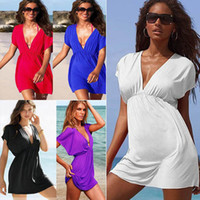 Wholesale New Fashion Summer Sexy Deep V_Neck womens Beach wear Boho Club Cocktail party Mini dress Size S M L XL
