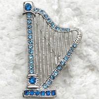 Other b brooch - Sapphire Crystal Rhinestones Music harp Costume Pin Brooch C907 B