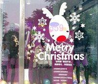 Wholesale fashion New Year Christmas deer wall stickers shop window stickers decorative glass door stickers decorations props removable multicolor