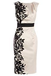 Wholesale Fashion Black Pensae Printed Dress exclusive signature duchess satin elegant women