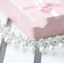 Wholesale Pearl Bridal Tiara Rhinestone flower girl s crown plated alloy Wedding Hair clip Barrette head band