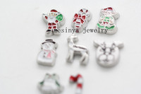 Wholesale 80pcs santa clause christmas deer elf candy bell snowman floating charms glass living locket not included each
