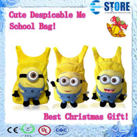Unisex best blue videos - Despicable Me Cartoon Cut backpack children pp plush minions toy school bag with top quanlity Best Gift