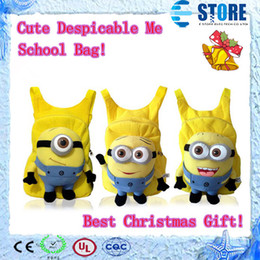 Wholesale Despicable Me Cartoon Cut backpack children pp plush minions toy school bag with top quanlity Best Gift