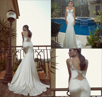 Trumpet/Mermaid Reference Images Spaghetti 2014 Galia Lahav Elegant Mermaid Wedding Dress Spaghetti V Neck Appliques Satin Lace Bridal Gown Backless White Ivory Wedding Dresses