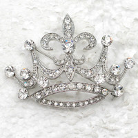 Wholesale Clear Crystal Rhinestone Wedding party Crown Brooches Fashion Costume Pin Brooch pin jewelry gift C932 A