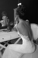 Sheath/Column Real Photos Spaghetti 2014 Inbal Dror Free Shipping 90% like model Sheath Wedding Dress Real Pictures Spaghetti with crystals Backless mermaid Bridal gowns