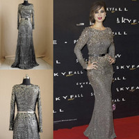 Wholesale Hot Real Image Elie Saab Evening Dresses Jewel Neckline Long Sleeves Grey Sequin Lace Crystal Beading Sash Sheath Formal Prom Gown