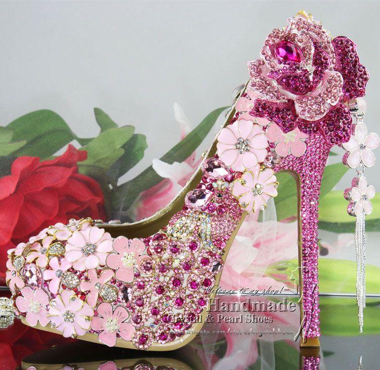 luxury heels Fuschia Hotpink High Heel Platform Pumps Wedding Bridal