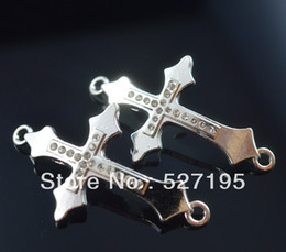 silver plated Crystal Rhinestones Sideways cross Connector beads making Bracelet Findings For DIY Jewelry