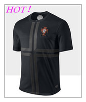 Wholesale 2013 Portugal Away Jersey Black Soccer Jersey Cool Outdoor Sport Shirt Kit Good Quality Cheap Athletic Apparel Best Soccer Wears
