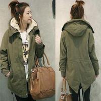Wholesale Women Thicken Fleece Warm Winter Coat Zip Up Hooded Parka Long Jacket Overcoat