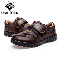 Wholesale 2013 USA Tiger Kids Leather Shoes for Kids Brown Full Grain Leather Uppers Size to Durable PU Outsole Cool Stylish Design Hot Sale