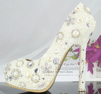 Formal Heels High Heel Sweet Pearl Crystal Beaded Round Toe lady's formal shoes Women's High Heels Beaded Bridal Evening Prom Party Wedding sexy white high heels