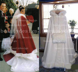 Wholesale 2014 Winter Bridal Cape Ivory Stunning Wedding Cloaks Faux Fur Ankle Length Perfect For Winter Wedding Red and White Bridal Cloaks BO2354