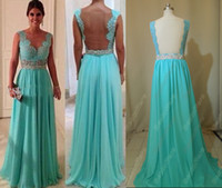 Wholesale 2013 Summer chiffon Prom Dresses Naked back belt Mint Appliques Evening Dresses bestoffers