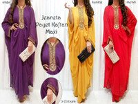 Wholesale Metal Embellished Long Chiffon Muslim Dress Kaftan abaya