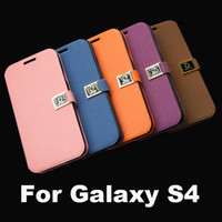 Wholesale Flip Case D Buckle Wallet Leather Cover With Credit Card Holder Stand For Samsung Galaxy S4 i9500