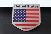 Wholesale Aluminum Wire Drawing Car Modification Sticker The Italy Germany USA England Flag Emblem Peltate And Rectangle