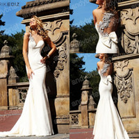 Wholesale 2014 High Quality Luxury Sexy One Shoulder Beading Mermaid Backless Prom Party Gowns Evening Dresses Customer Made With Real Pictures
