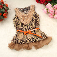 Wholesale Spring Girls Leopard Pearl Lace Collar Waistcoat Girls Condole Belt Children Tank Tops Fashion Girls Winter Tutu Dress Sleeveless T Shirt