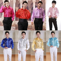 Wholesale Bling Sequins Men s Long sleeved Shirts Show Performance New Formal Business Groomsman Groom Shirt