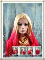 "wavy European Wigs Christmas synthetic lace front wigs 16''-26"" T-tone blonde red body wave (as the picture show) heat friendly party wigs in stock"
