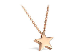 n771 Sweet Rose Gold Star pendant necklace Women Gilrs Jewelry Stainless steel 16''