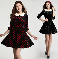 Wholesale fashion autumn high quality elegant gold velvet peter pan collar polka dot dress