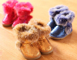 Wholesale 10 off Winter shoes children shoes snow boots fluffy rabbit baby shoes sequined children shoes pairs ZL