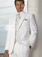 Wholesale 2014 White Groom Tuxedos Men s Wedding Dress suits Prom Clothing