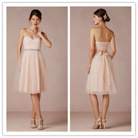 Reference Images Sash Sleeveless A Line Ruched Sweetheart Neckline Belt Rhinestone Bow Knee Length Tulle Pearl Pink Customized Fast Delivery Evening Dresses Bridesmaid Gowns