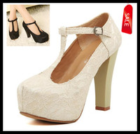 Wholesale Ivory Lace Wedding Shoes T Strap Platform Women Waterproof Shoes bridal lady High heeled shoes ePacket colors